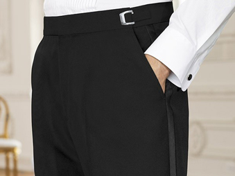 Worsted Wool Flat Front Tuxedo Pants